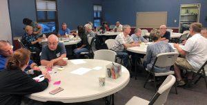Gathering in Fellowship Hall